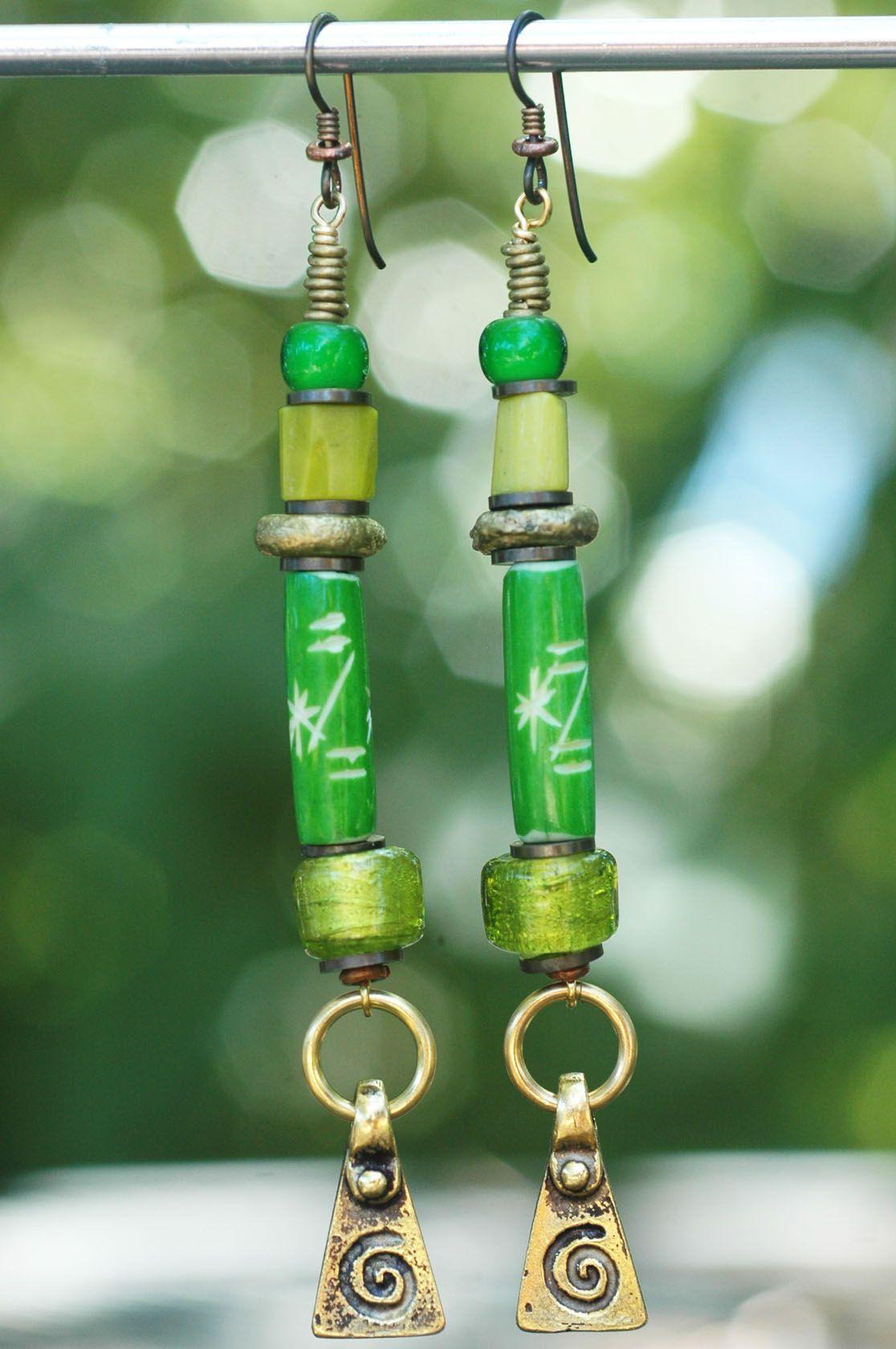 Green Spiral Earrings: Artisan Green Glass and Mixed Metal Spiral Dangle Earrings