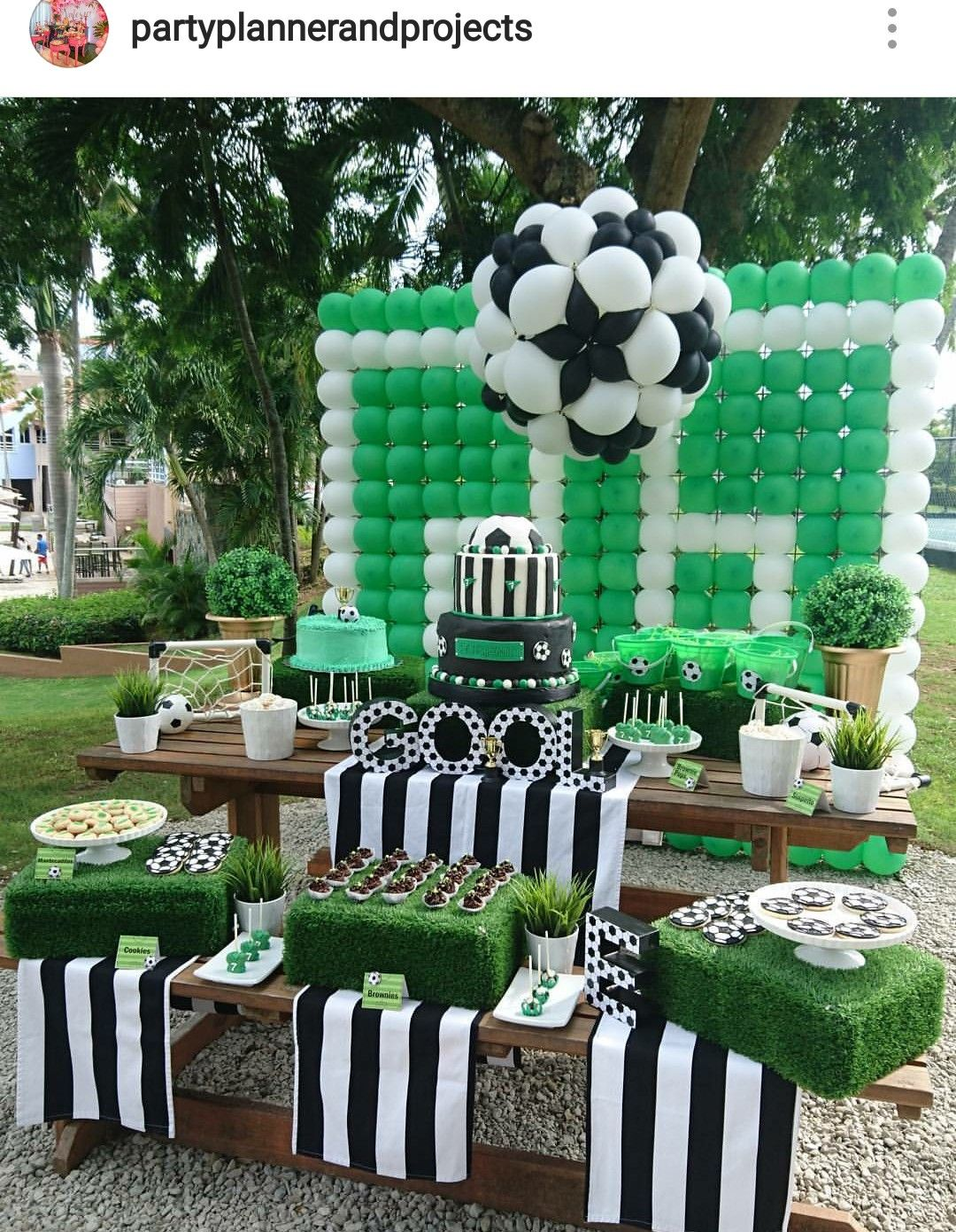 Soccer Theme Birthday Party Dessert Table And Decor Soccer Theme Parties Soccer Birthday Parties Soccer Party Decorations