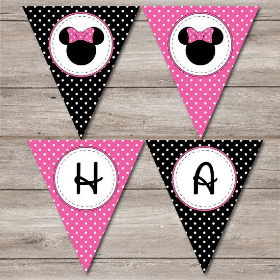 Minnie Mouse Pennant, Printable Minnie Mouse Banner ...