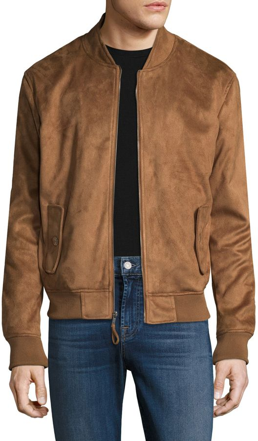 1be392d90 Guy Laroche Men's Vegan Suede Bomber Jacket | Suede bomber in 2019 ...