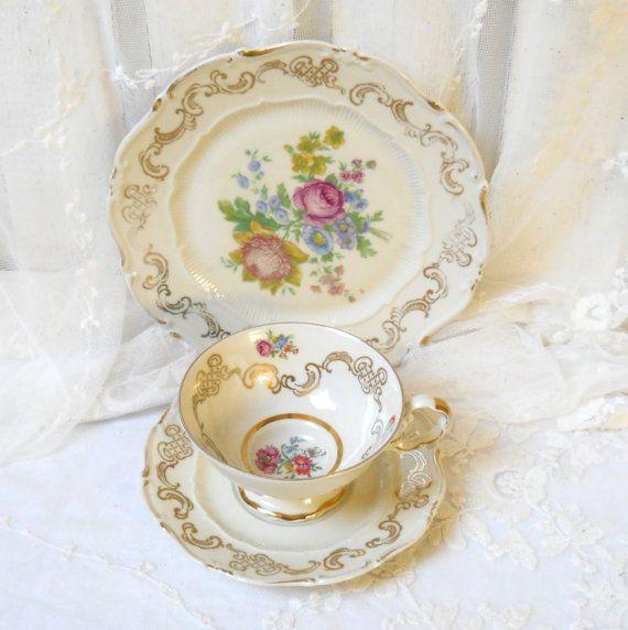 vintage tea cup tea cup trio german porcelain by minoucbrocante, €16.50