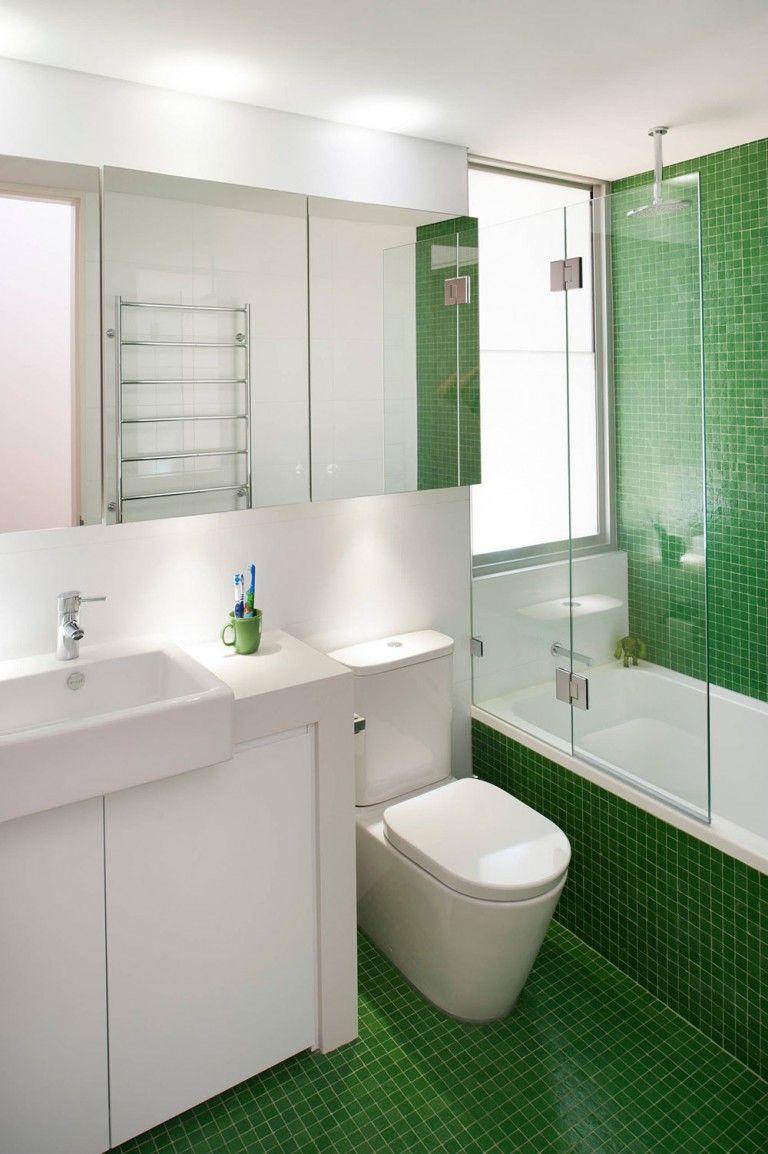 How To Make A Small Bathroom Look Bigger Tips And Ideas Green Tile Bathroom Green Bathroom Light Green Bathrooms