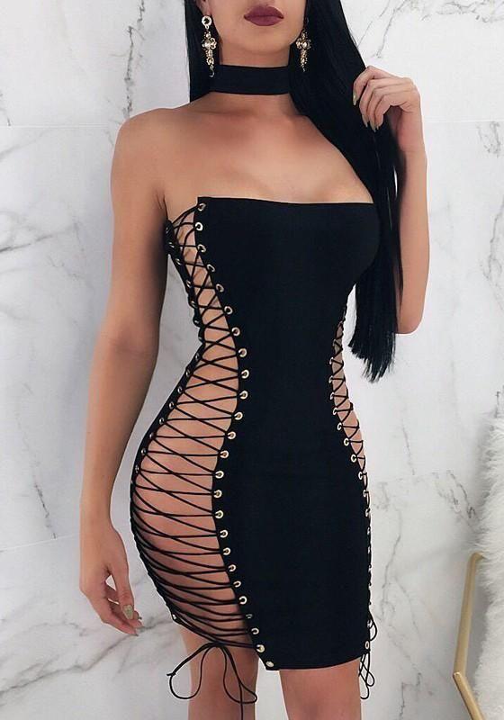 5bfc819daa6f Black Cross Lace-up Bandeau Off Shoulder Backless Bodycon Clubwear Mini  Dress