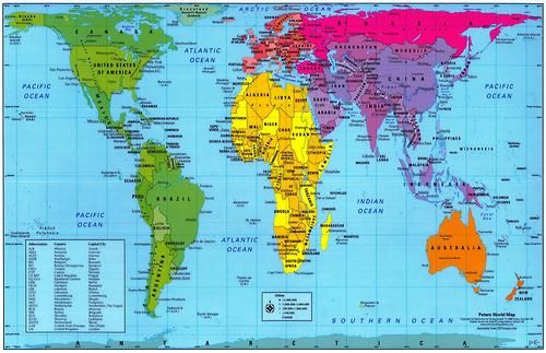 The Peters World Map: Shows correctly the actual sizes of the
