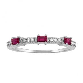 FamilyMothers Ring Baguette Birthstone Design in Silver or Gold