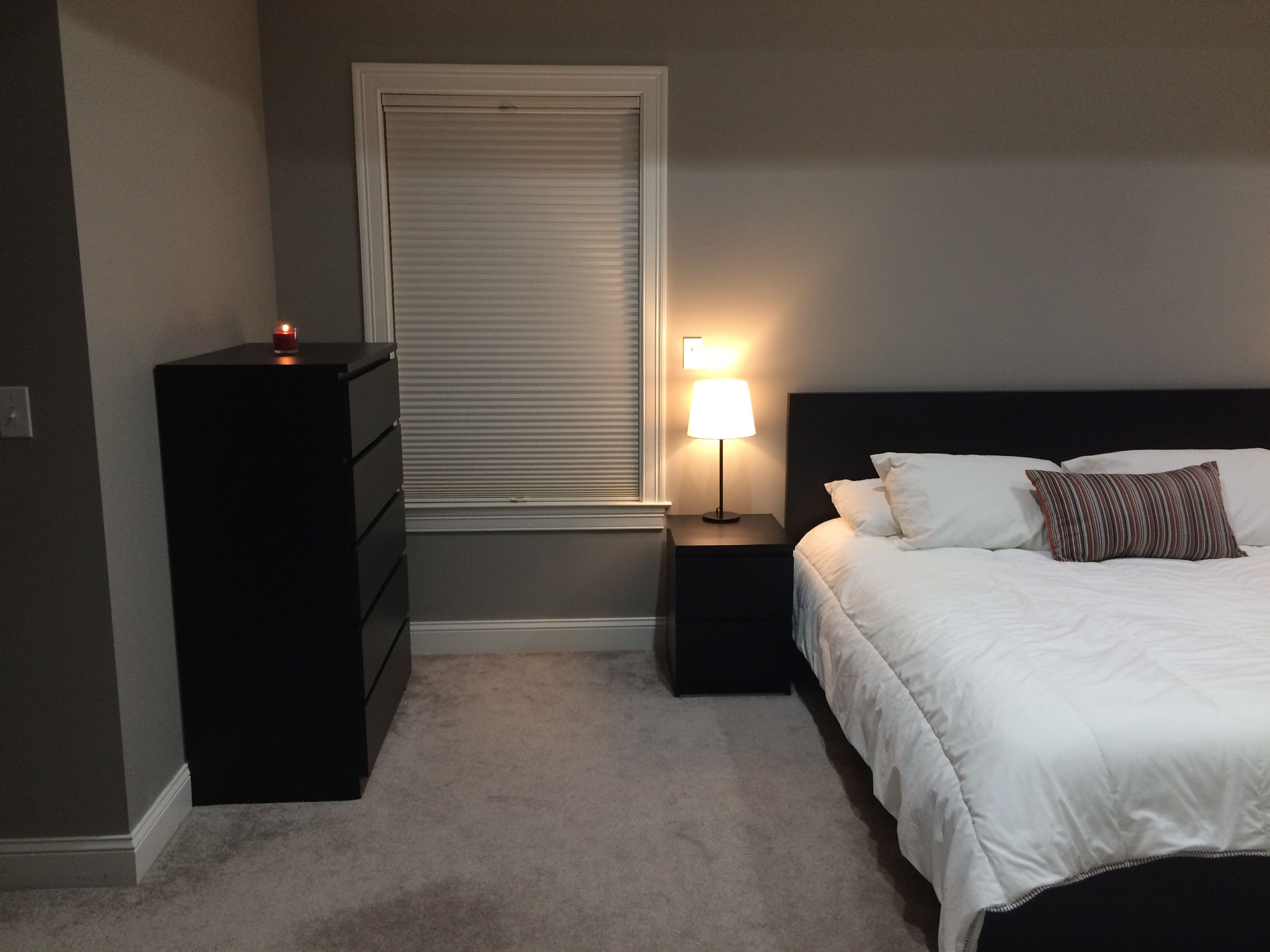 Minimalist bedroom ikea malm grey black white red hobby lobby