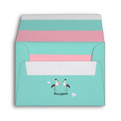 Baby Reveal Special Delivery Stork Teal Blue Party Envelope Zazzle Com Party Envelopes Baby Reveal Party Baby Reveal