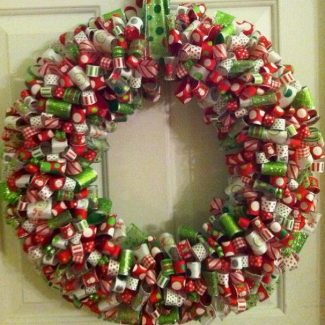 Christmas ribbon wreath Christmas crafts Pinterest Wreaths