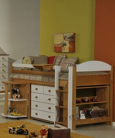 Kids Midsleeper bed frame in Antique Pine and White part of the Maximus Cabin  bed range