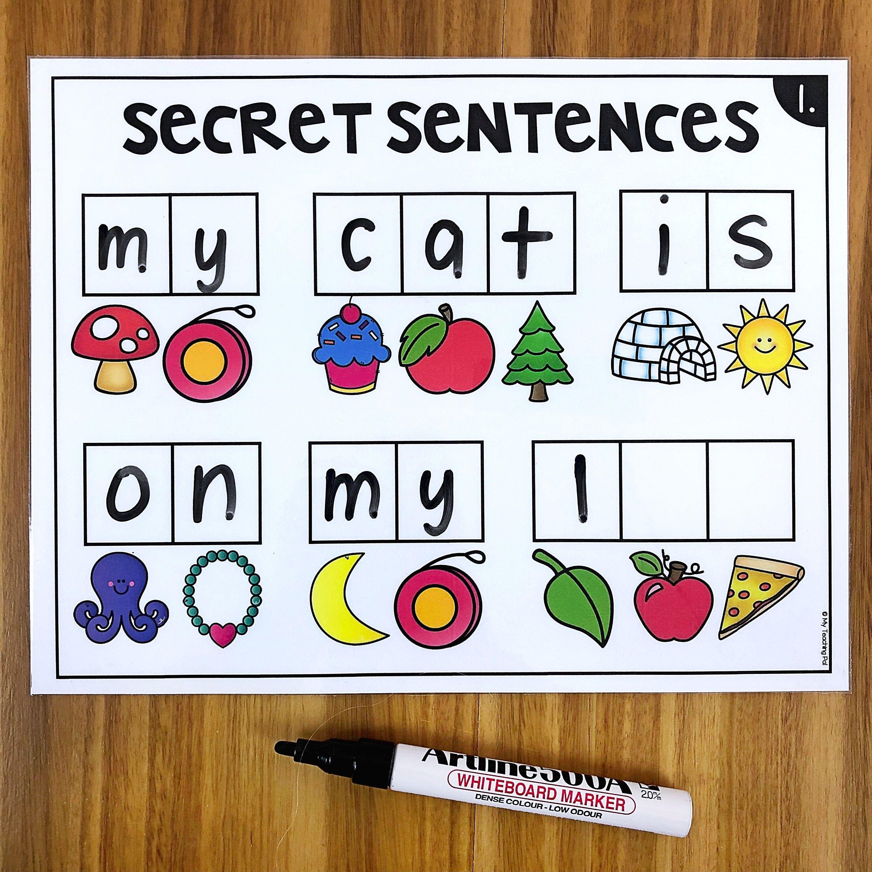 Secret Sentences Literacy Center For Kindergarten Students