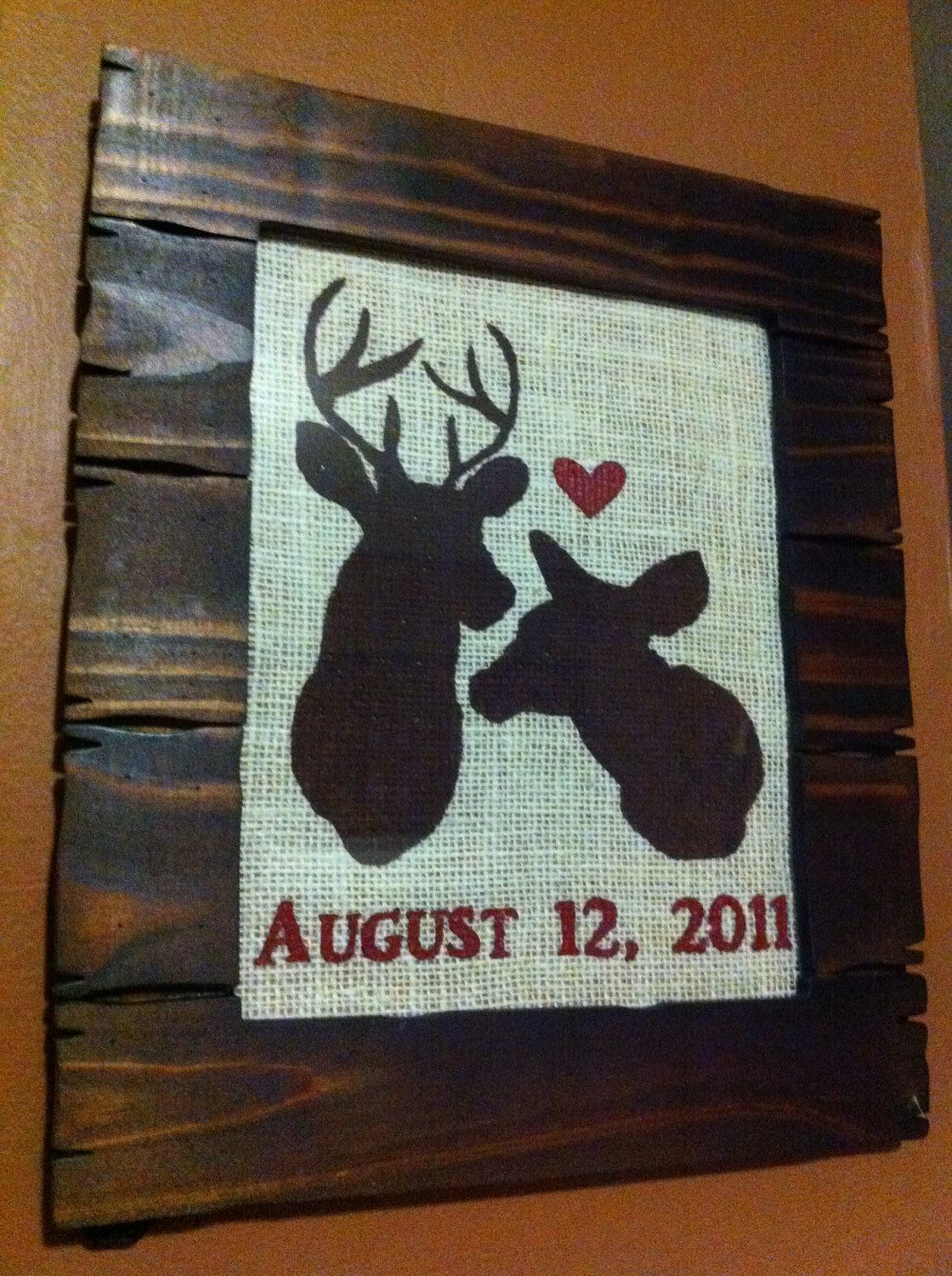 Diy camo wedding decorations  Deer Love Anniversary or Wedding Date Frame by RusticRoost on Etsy