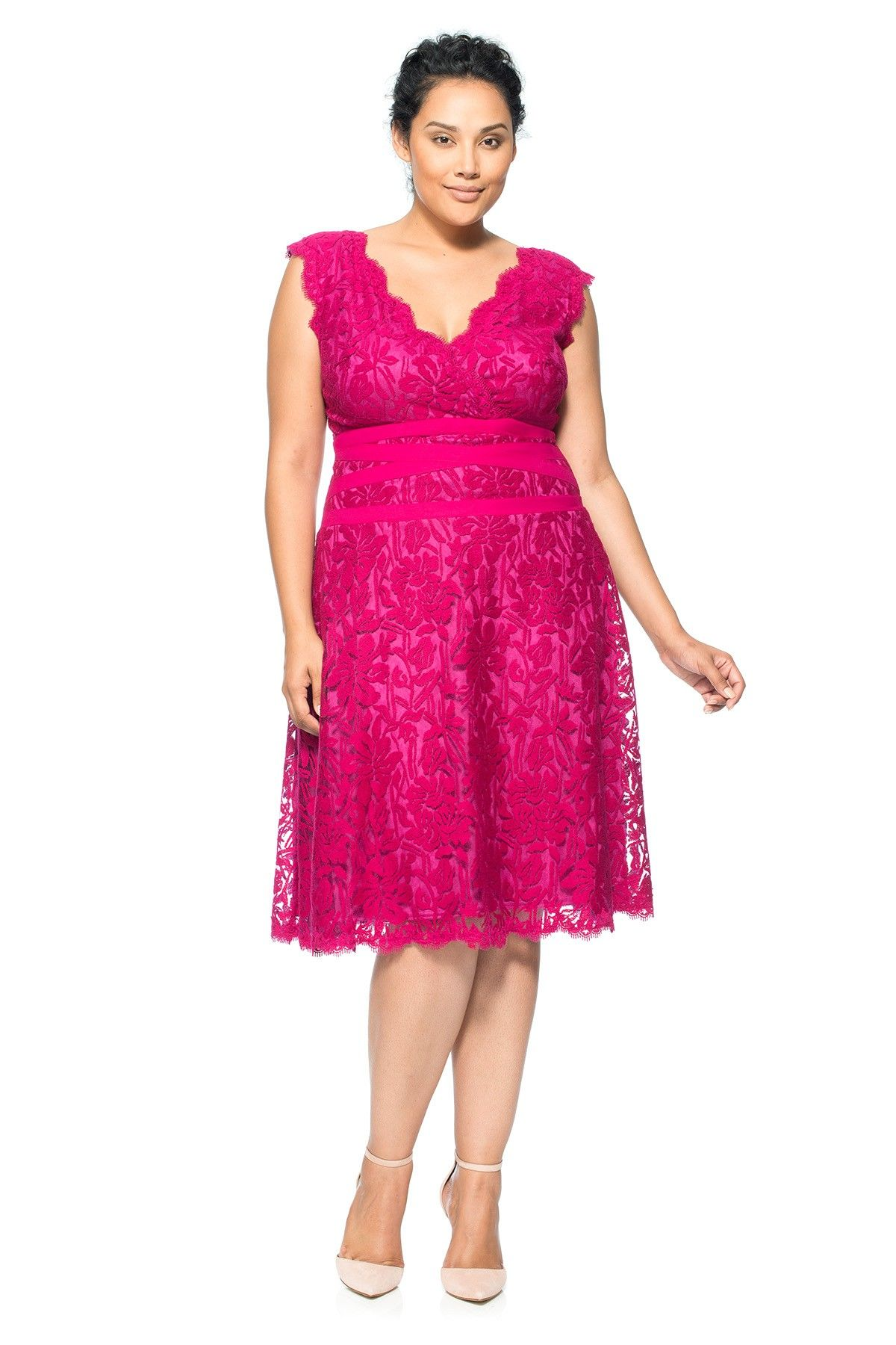 Embroidered Lace V-Neck A-Line Dress - PLUS SIZE | Tadashi Shoji ...