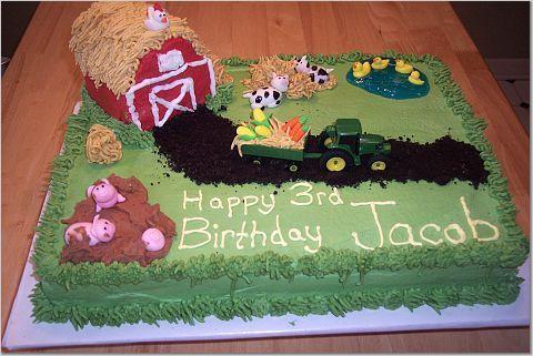 Groovy John Deer Barn Cake With Images Barnyard Birthday Party Barn Personalised Birthday Cards Veneteletsinfo