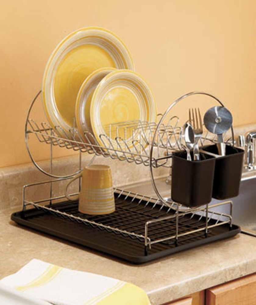 2 Tier Black Space Saving Dish Drying Rack Kitchen Decor Organizer