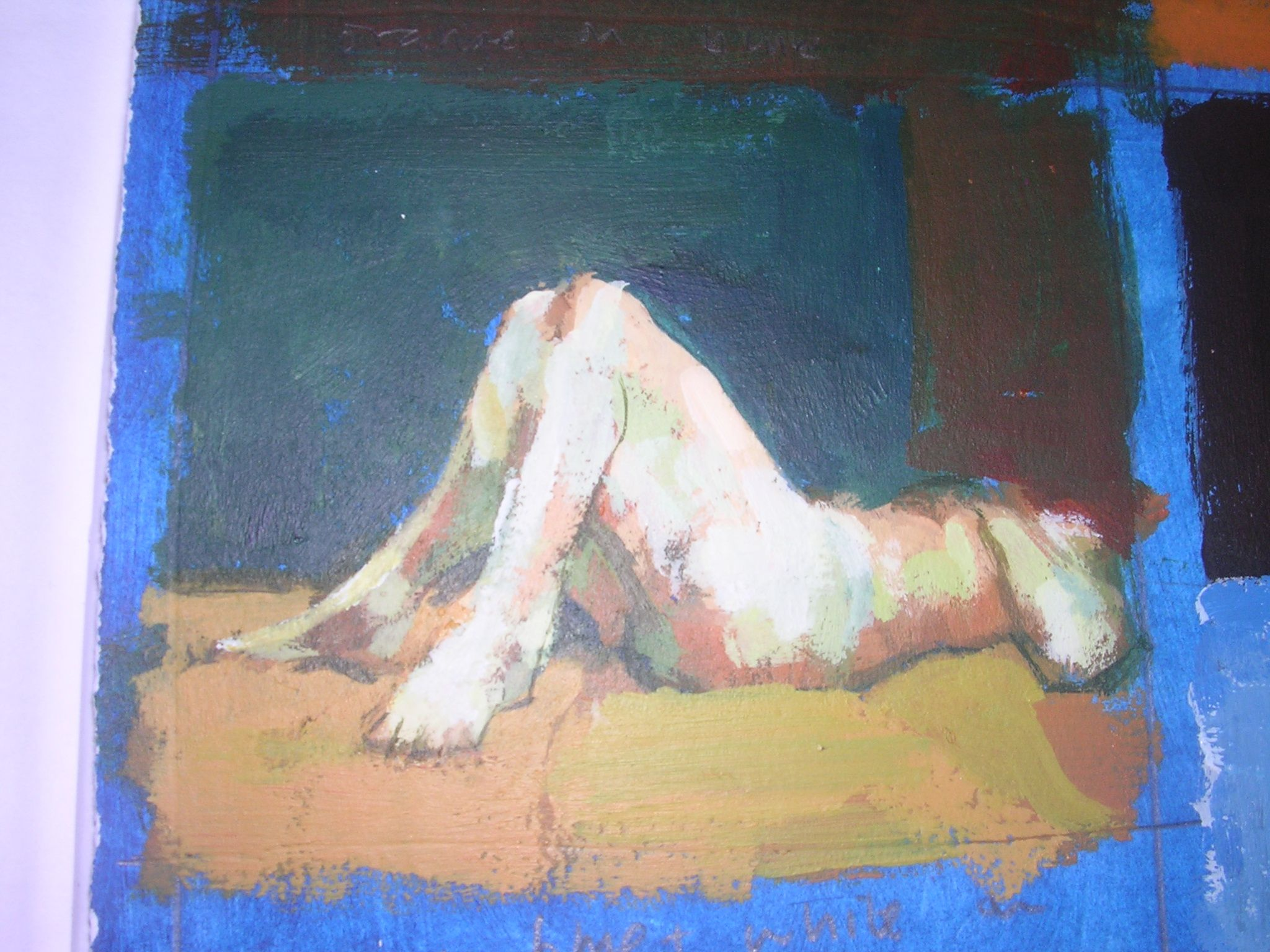 Complementary Colours. Uglow study, Orange and white and blue mixed on a blue ground