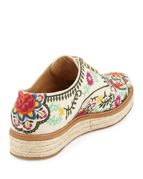 30403dc7edfc Embroidered Canvas Espadrille Sneaker White