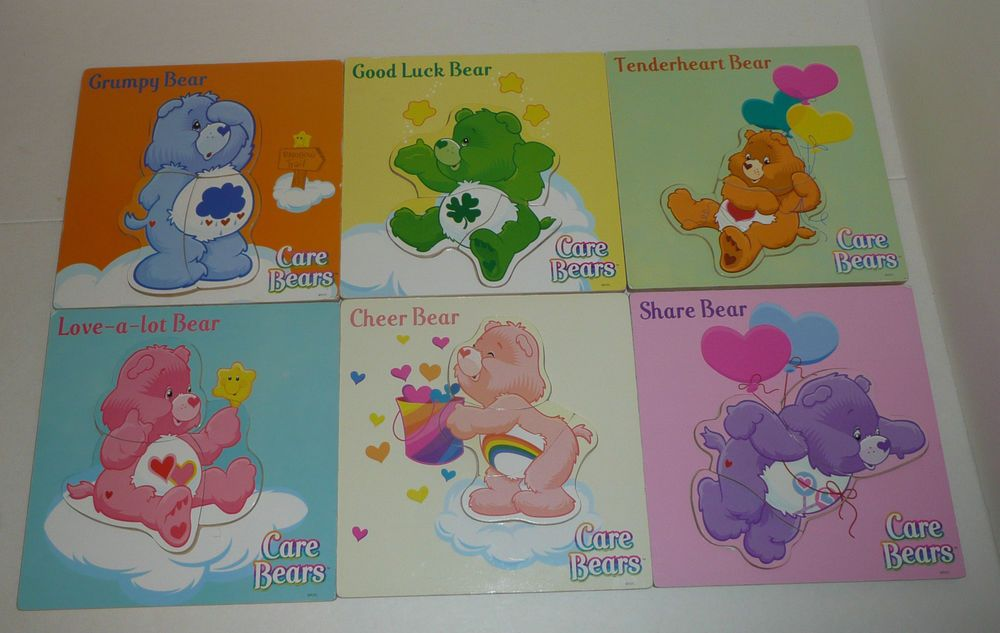 Lot of 6 Care Bears Themed 3-Piece Wooden Tray Puzzles Wood TCFC