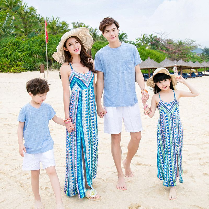 abf4595797 2017 beach dresses mother me bohemian mom and daughter son father family  look clothing sleeveless family matching outfits