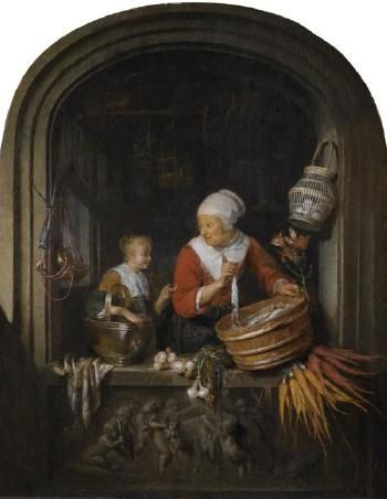 Gerrit Dou - Haringverkoopster met dienstmeisje in een nis