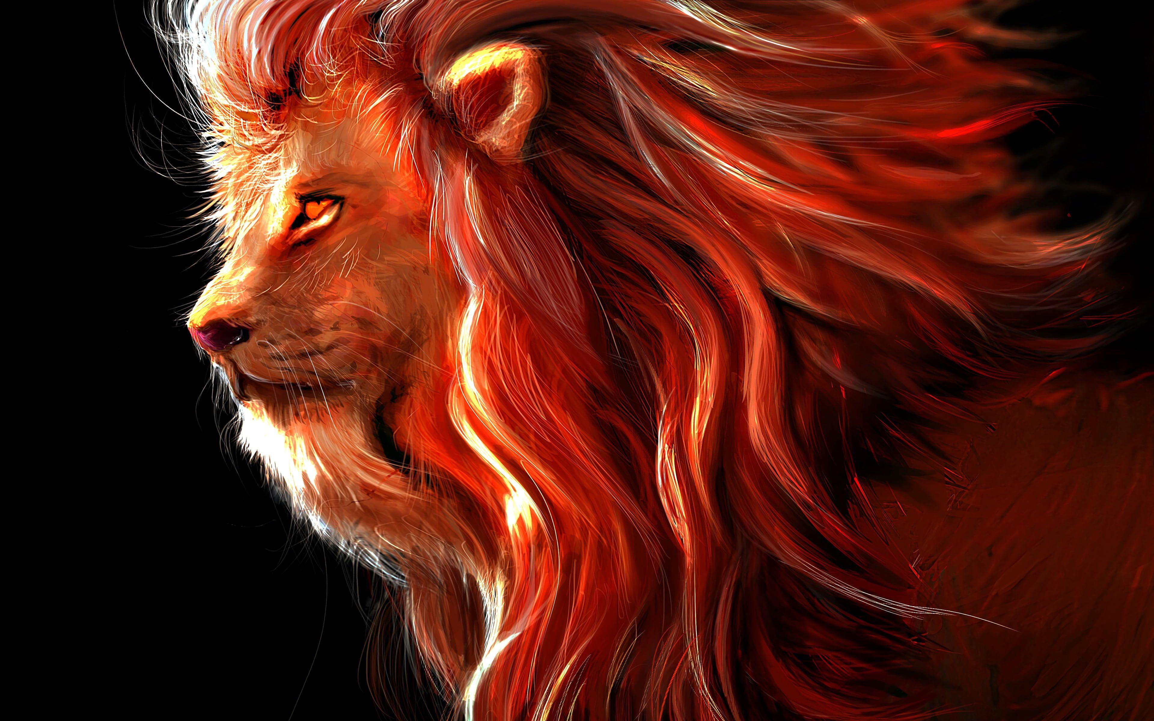 Art Lion Predator Painting Rendering Digital Art Big Cat King Of Beasts 4k Ultra Hd Background 4k Wallpaper Hdwa In 2020 Lion Artwork Digital Art Lion Painting