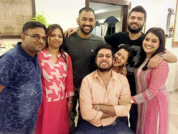 Mahendra Singh Dhoni  with his close friends at his residence