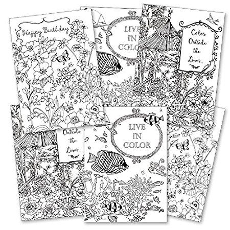 Color It Yourself Greeting Card Assortment 6 Cards Envelopes Coloring Books Color Greeting Cards