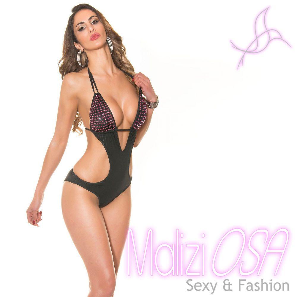 8120e3022ac9 Monokini Costume da Bagno Nero Strass Rosa Intero Moda Mare Sexy trikini  nuovo #swimsuit #