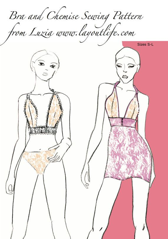 Printable Bra and Chemise Sewing Pattern by Layoutlife on Etsy