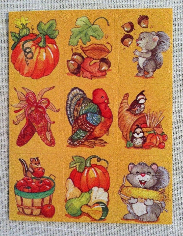 Vintage Stickers Thanksgiving American Greetings Sticker Sheet VTG