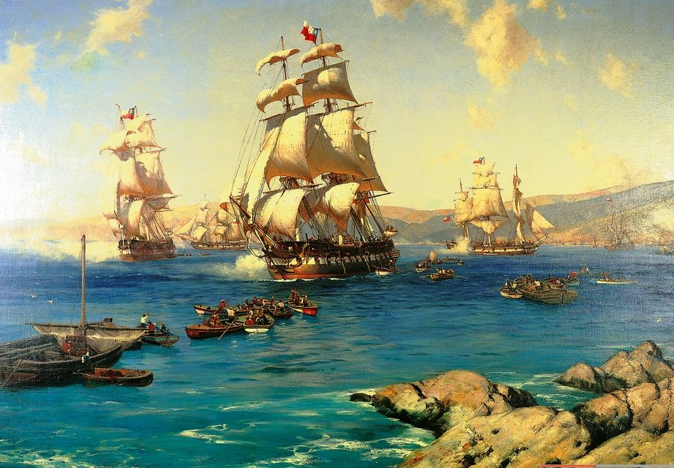 Tomas Somerscales - Zarpe de la Primera Escuadra Nacional (10.Oct.1818) |  Jose miguel carrera, Yates clásicos y Batalla naval