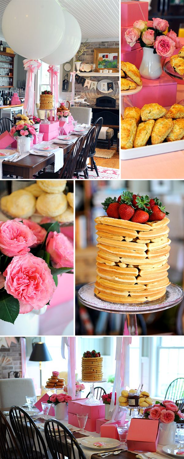 Bakery Inspired Bridesmaids' Brunch with waffle cake, giant balloons and homemade scones