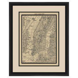 Manhattan Map Framced Giclee Print Framed Maps Manhattan Map Art