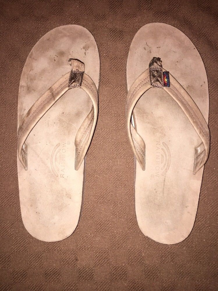 d9182f2d81a5 Mens Brown XXL (12-13.5) Rainbow Sandals Double Layer  fashion  clothing