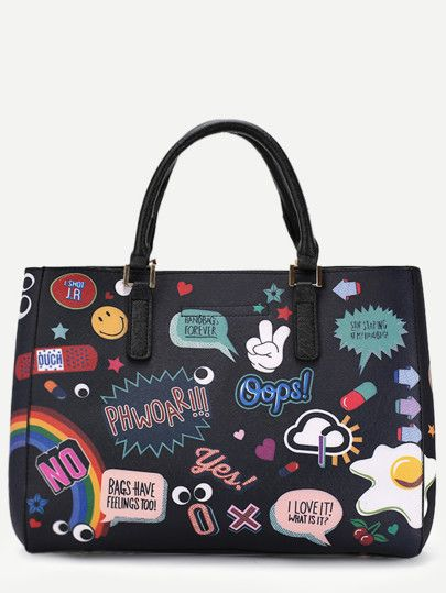 a7e31df7e4 Black PU Cartoon Print Tote Bag With Clutch | bags and pouches ...