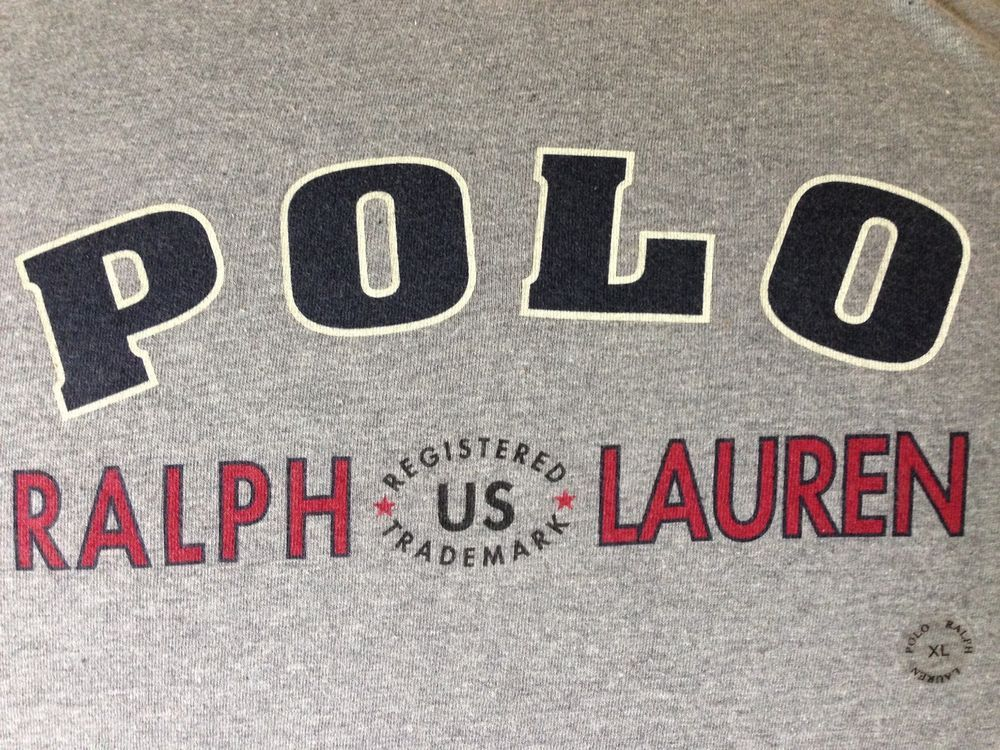 Vtg POLO T Shirt Ralph Lauren Men XL Grey Spelled Out New with Tag #PoloSport #BasicTee