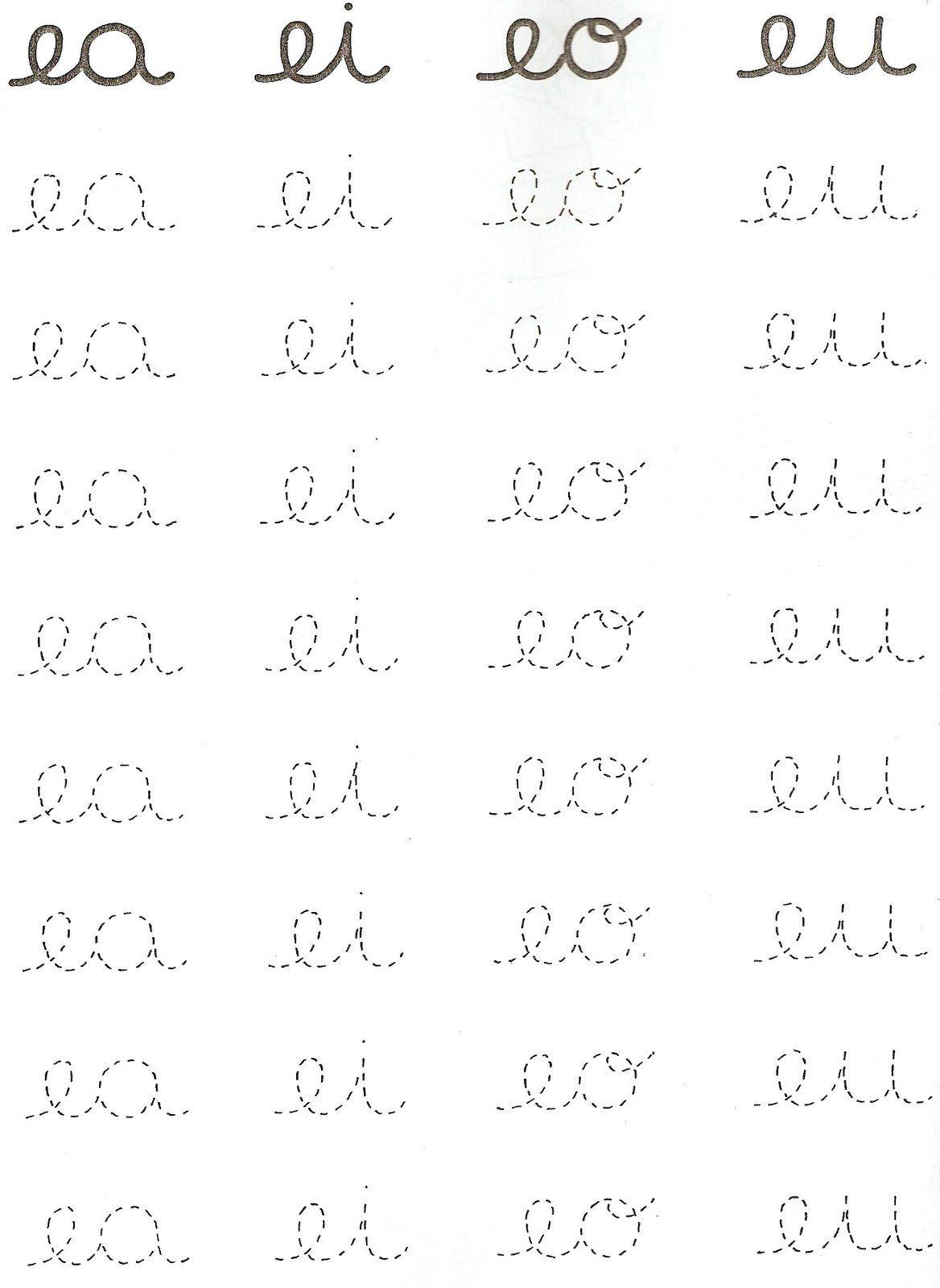 caligrafia-encontro-vocalico | vogais | Pinterest | Buchstaben ...