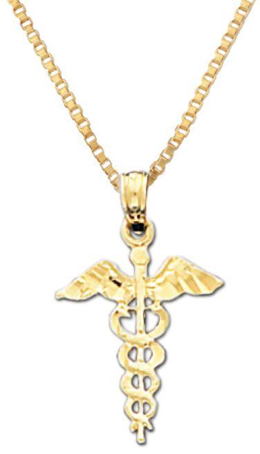 New 14k Yellow Gold Medical Caduceus Doctor Nurse Pendant Charm Necklace