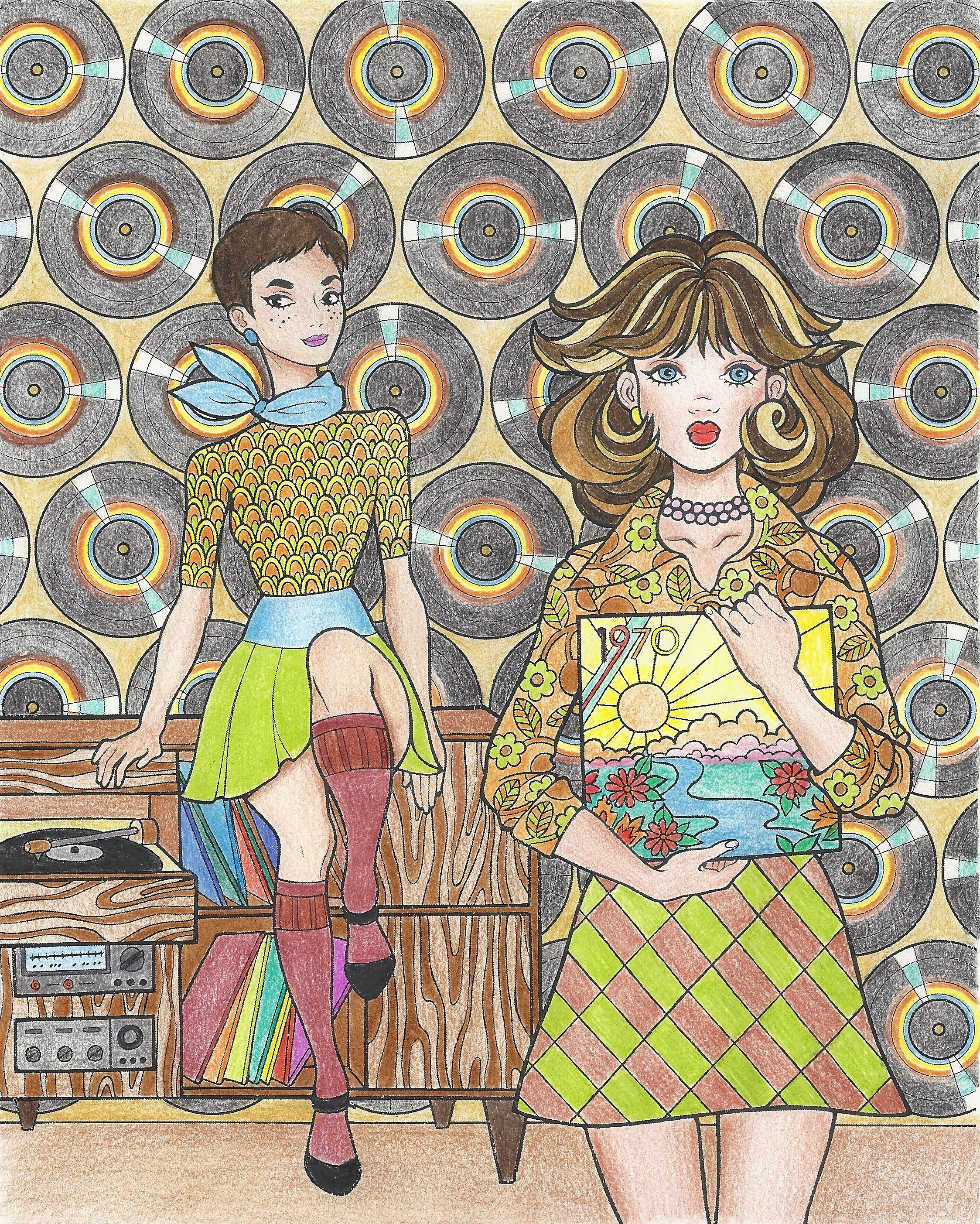 Colored Page From Groovy 70s Fashion Coloring Book For Adults Available On Amazon