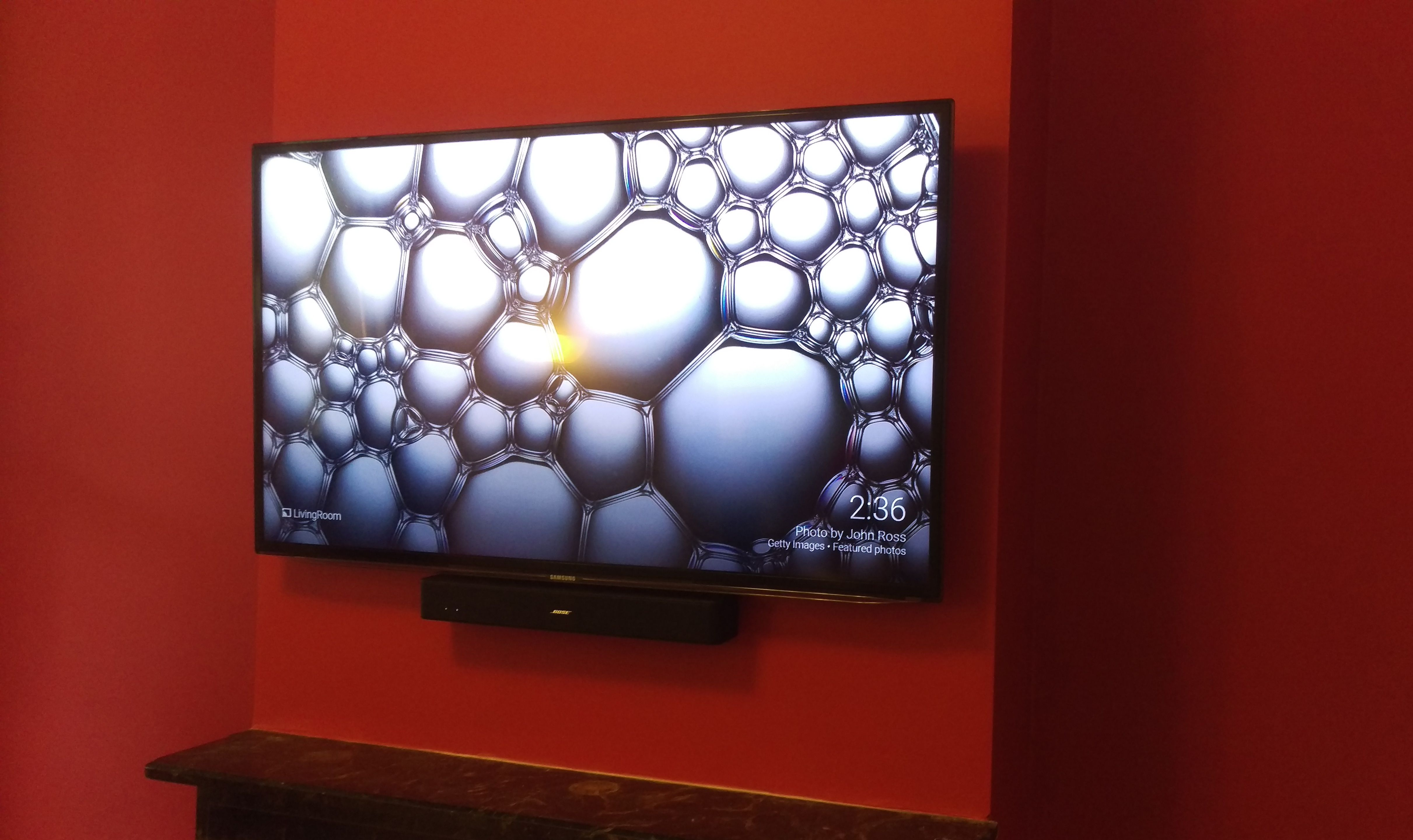 Samsung 55 Tv With Bose Solo5 Sound Bar Above Working Fire Place Flat Tv Sound Bar Flat Screen