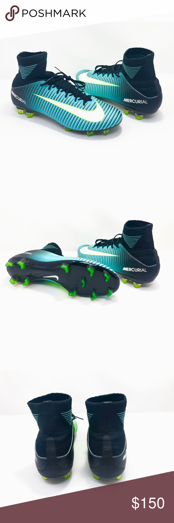 Nike Mercurial Veloce III DF Women s Soccer Cleat NIKE 897800-400 Nike  Mercurial Veloce III DF FG Women s soccer cleats Size 9.5 Aqua   Black Low  top New ... c7dd1f6a4