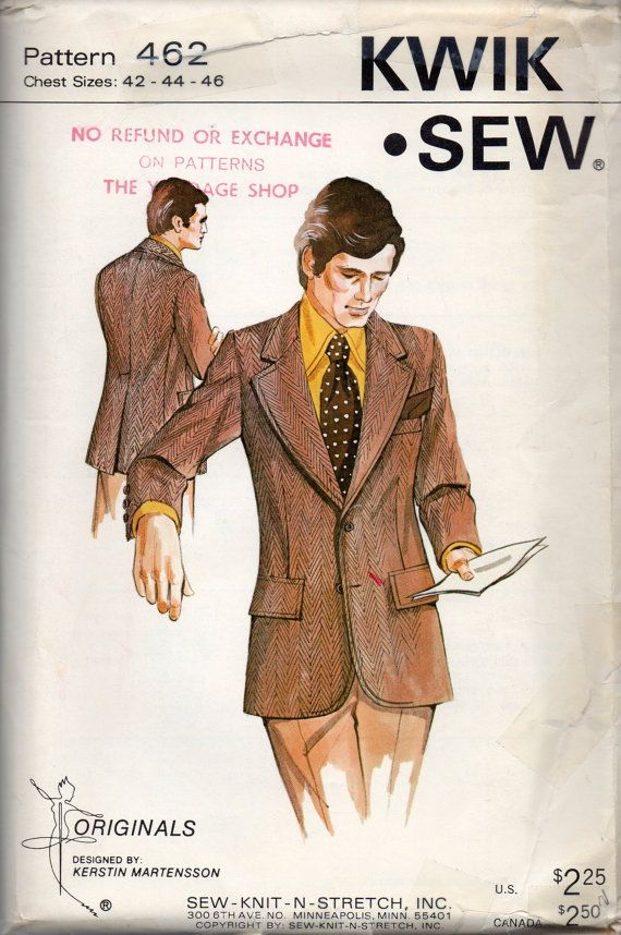 Kwik Sew 462 1970s Mens Sport Coat Pattern for Double Knits Inside ...