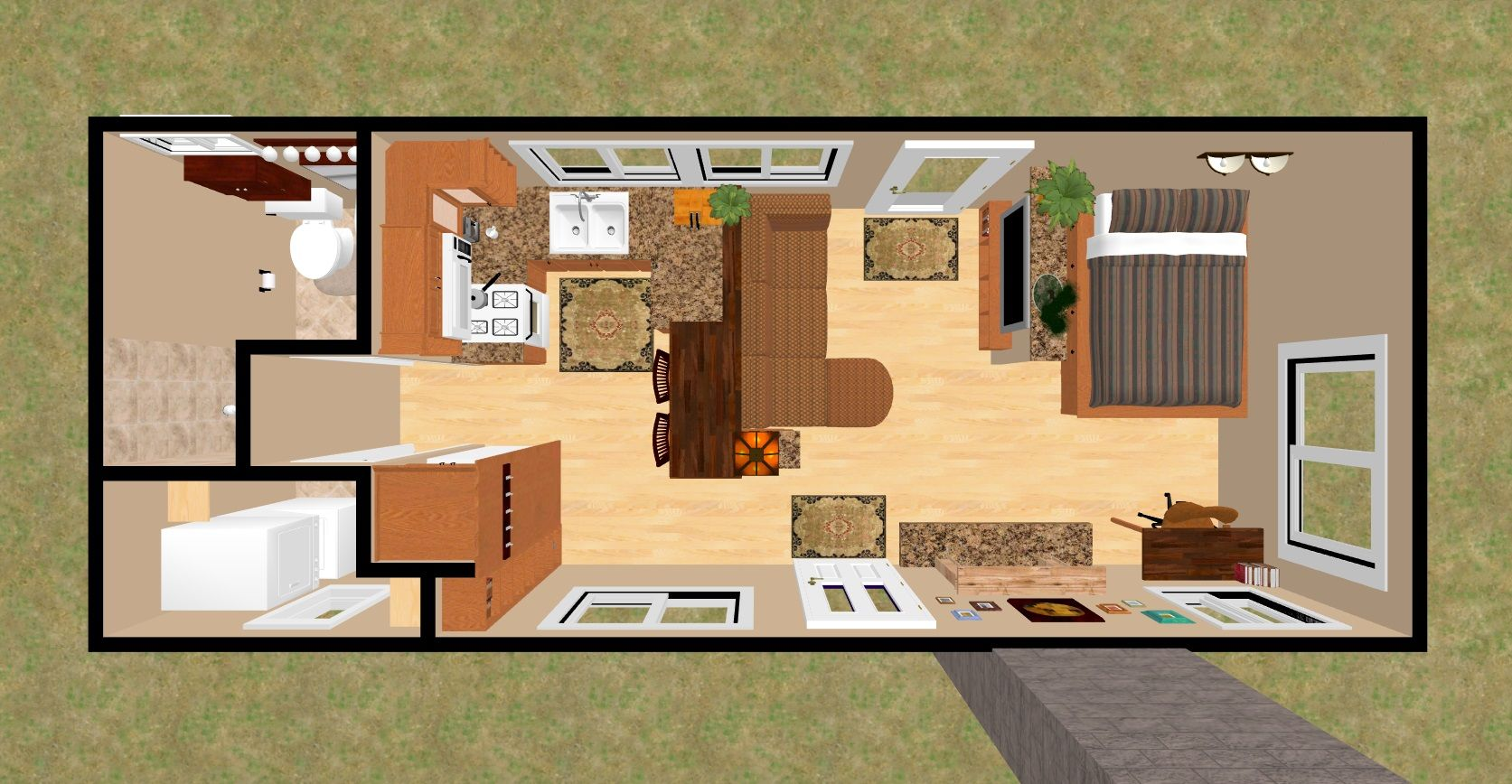 3d Top View Of The 360 Sq Ft Shy Lightning Tiny House