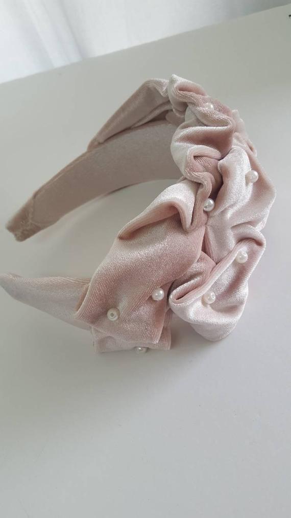 Fascinator headband, Pink headband, Kate middleton style, pearl headband, wide headband, velvet headband, royal ascot hat, wedding headpiece