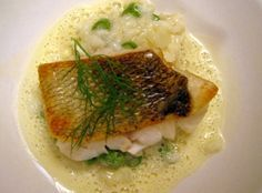 Photo of Fried pikeperch fillet with wine foam sauce on asparagus risotto – recipe