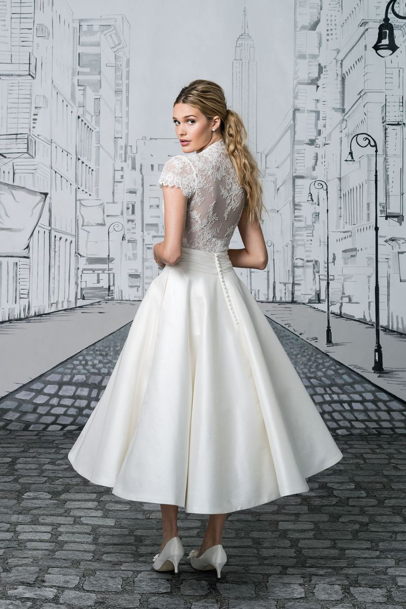 Justin Alexander Style 8881 Lace Bodice With Short Sleeves And Silk Tea Length Ball Gown Skir Short Bridal Gown Short Wedding Dress Tea Length Wedding Dress [ 1200 x 800 Pixel ]