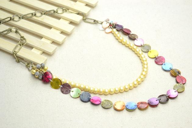 DIY Jewelry: DIY Necklace: How to make a long necklace with pearls and mother of pearl shell beads - Bead&Cord