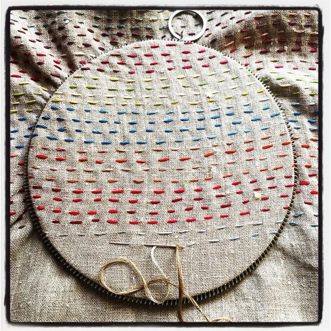 Things that fit into the French Hoop: #11: our Variegated Linen Tote kit. Order your #frenchgeneralhoop now and use discount code newhoopnewyear for $10 off the hoop! #handembroidery