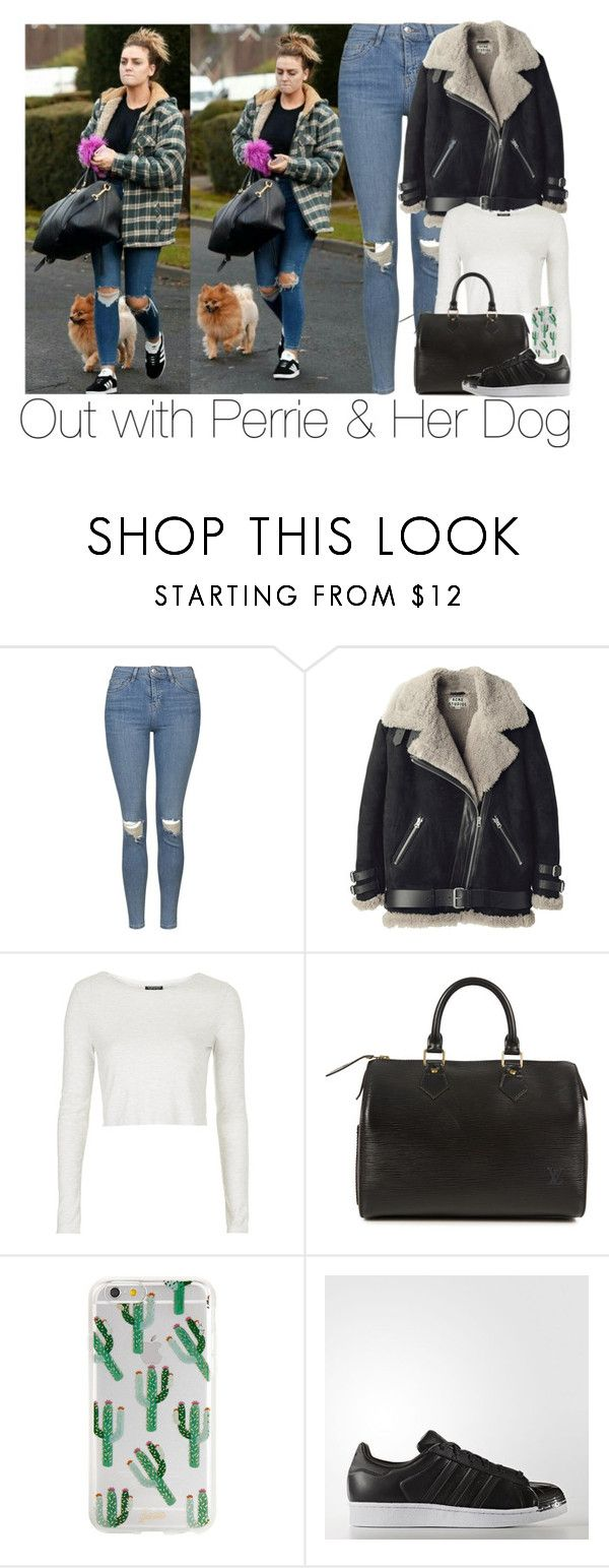 """""""Out with Perrie & Her Dog"""" by zarryalmighty ❤ liked on Polyvore featuring Topshop, Acne Studios, Louis Vuitton and perrieedwards"""