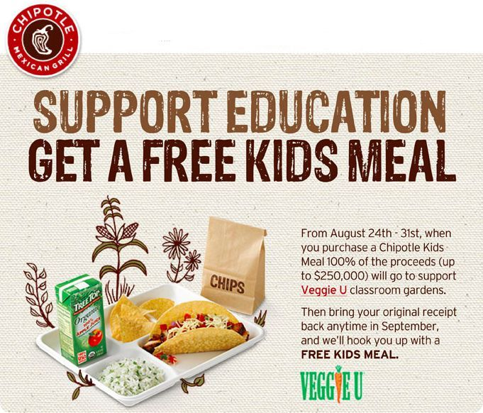Free Kid S Meal At Chipotle Kids Meals Free Kids Meals Meals