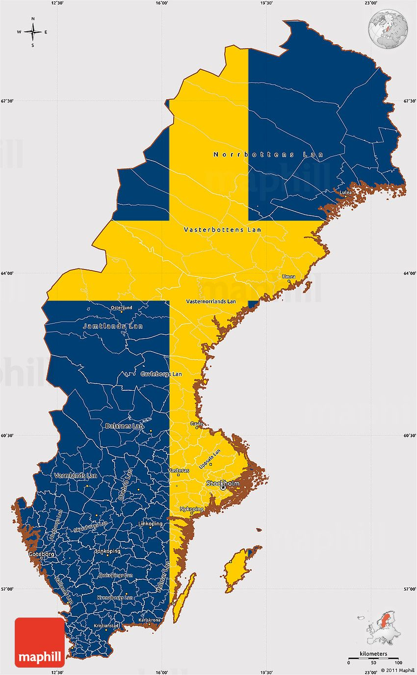 Flag Simple Map of Sweden flag rotated b & d room